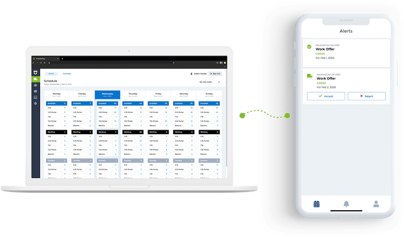 AO Logistics App driver crew management cms with work offers