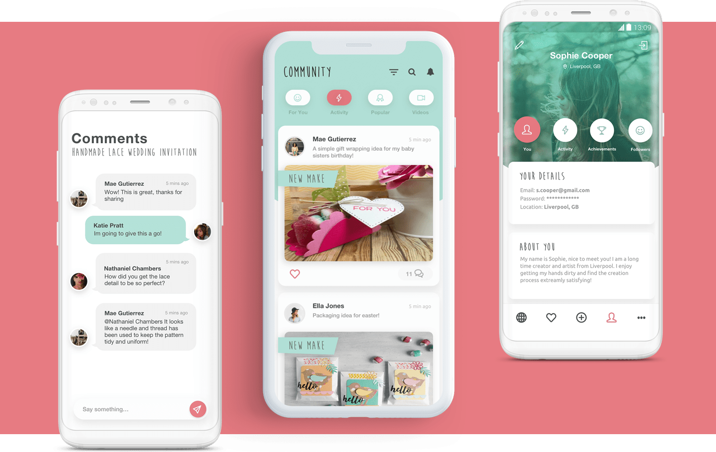 Sizzix App screens showing comments, community feed and profile
