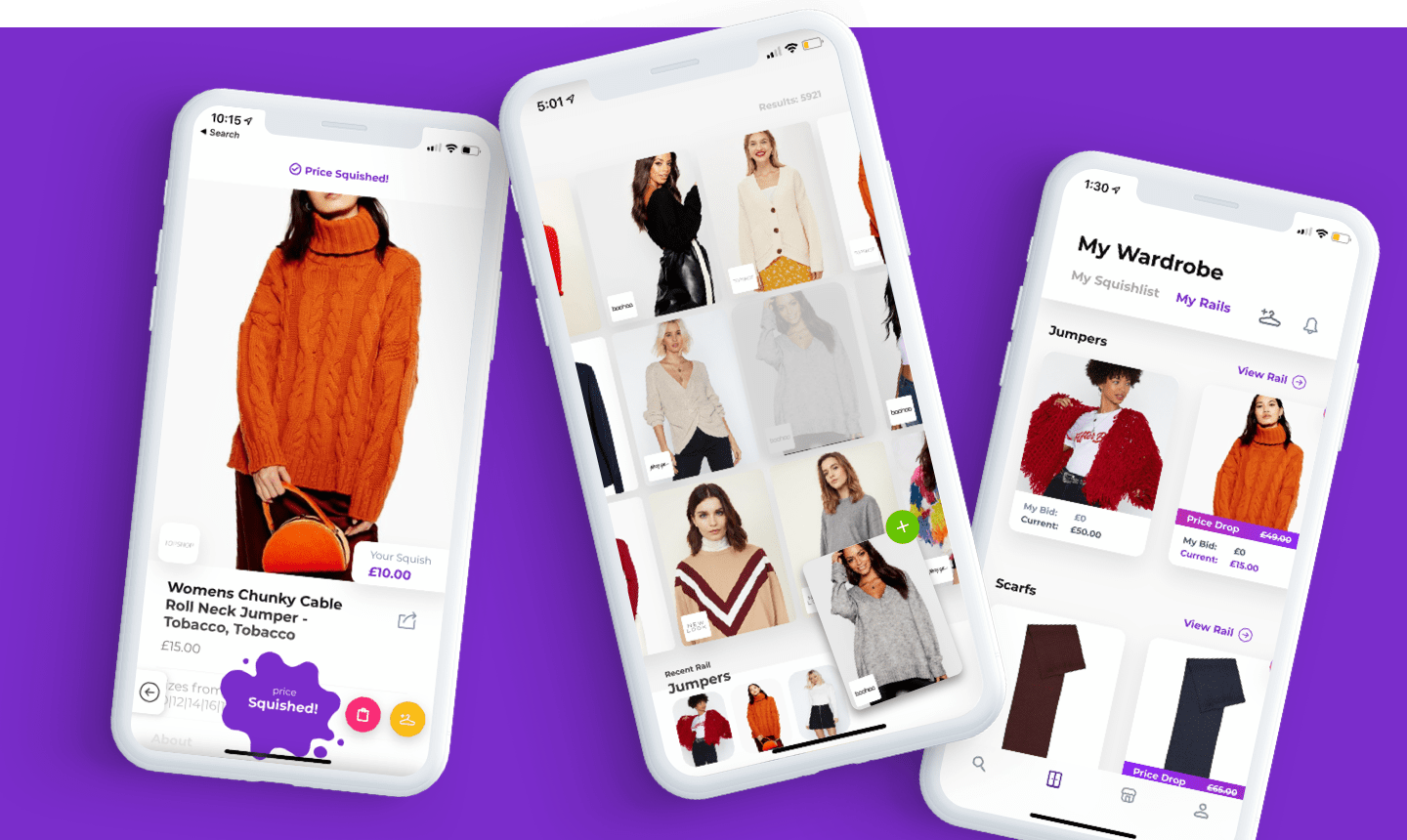 Squished app screens showing bespoke store interface, watchlist and price bid functionality