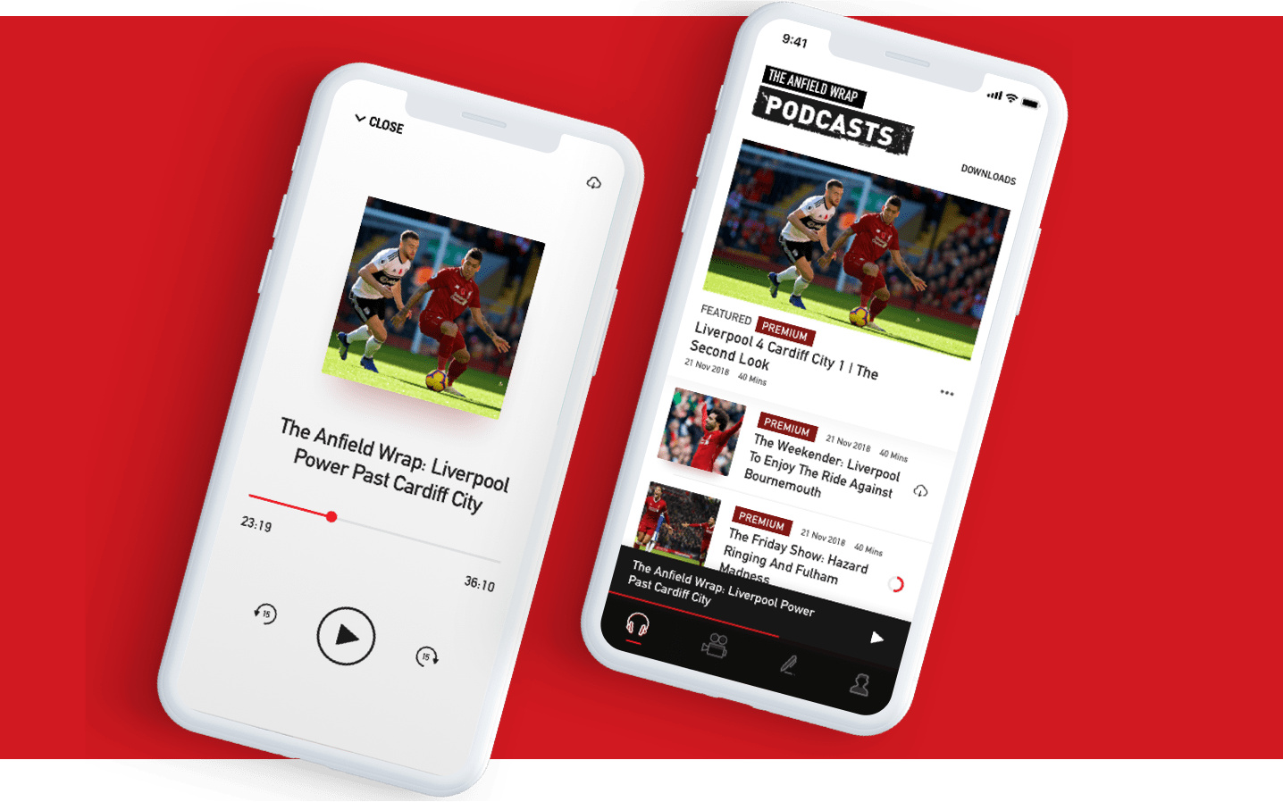 The Anfield Wrap screens showing custom podcast player and podcast feed